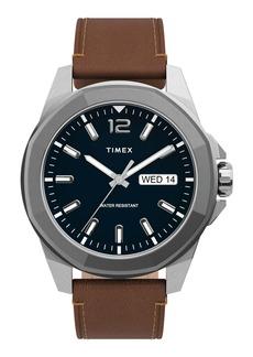 Timex® Essex Avenue Leather Strap Watch, 44mm