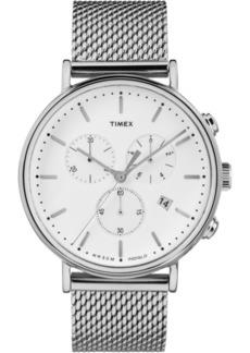 Timex Fairfield Chronograph 41mm White Dial Mesh Band Watch