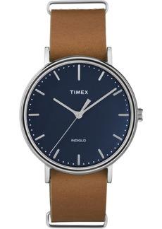 Timex Fairfield Slip-Thru 41mm Leather Strap Watch