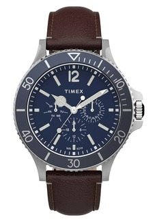 Timex® Harborside Leather Strap Watch, 42mm