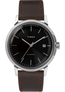 Timex Marlin Automatic 40mm Black Dial Brown Leather Strap Watch