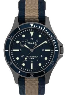 Timex Men's Navi Xl Tan and Blue Fabric Strap Watch 41mm