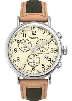 Timex Men's Standard Tan Leather Strap Watch 41mm