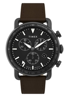 Timex® Port Chronograph Leather Strap Watch, 42mm