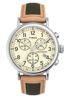 Timex® Standard Chronograph Leather & Fabric Strap Watch, 41mm
