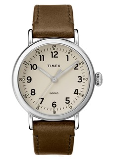 Timex® Standard Leather Strap Watch, 40mm