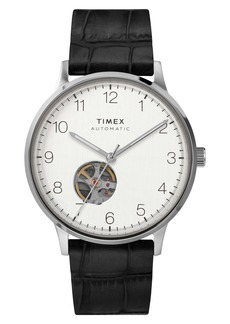 Timex® Waterbury Automatic Leather Strap Watch, 40mm