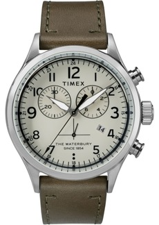 Timex Waterbury Traditional Chronograph 42mm Leather Strap Watch