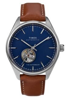 Timex® Waterbury Traditional Leather Strap Watch, 42mm
