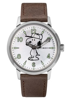 Timex® x Peanuts® Welton Vintage Snoopy Leather Strap Watch, 40mm