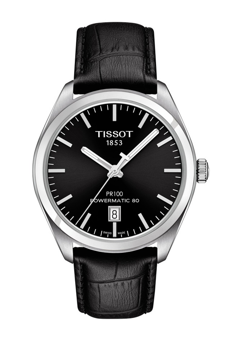 Tissot Men's Dual T-Classic Leather Strap Watch, 39mm