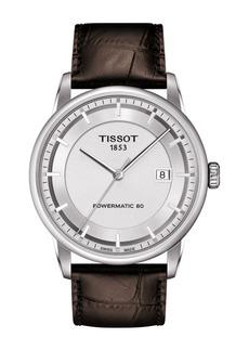 Tissot Men's Luxury Powermatic 80 Croc Embossed Men's Leather Strap Watch, 41mm