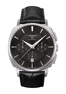 Tissot Men's T-Lord Automatic Chronograph Valjoux Croc Embossed Leather Strap Watch, 42.2mm