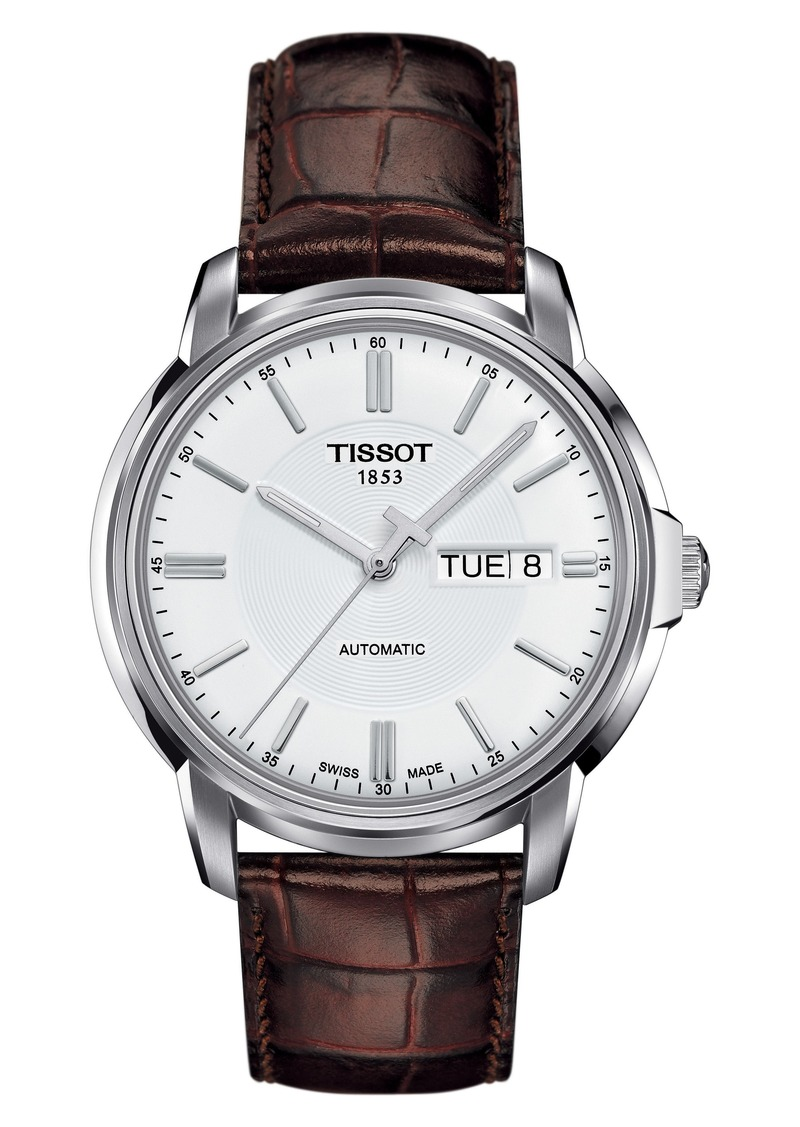 Tissot Automatic III Leather Strap Watch, 40mm