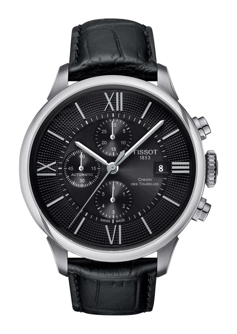 Tissot Chemin Des Tourelles Automatic Chronograph Leather Strap Watch, 44mm