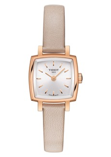 Tissot Lovely Square Leather Strap Watch, 20mm