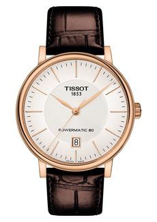 Tissot Premium Carson Powermatic 80 Leather Strap Watch, 40mm