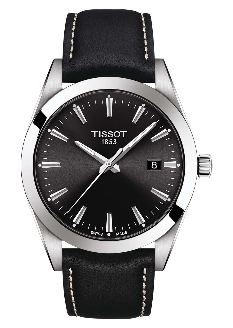 Tissot T-Classic Gentleman Leather Strap Watch, 40mm