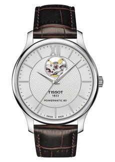 Tissot Tradition Powermatic 80 Open Heart Leather Strap Watch, 40mm