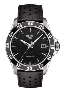 Tissot V8 Swissmatic Perforated Leather Strap Watch, 42mm