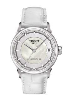 Tissot Women's Luxury Powermatic 80 Croc Embossed Leather Strap Watch, 33mm