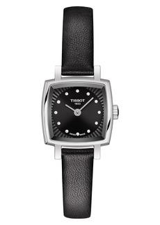 Women's Tissot Lovely Square Diamond Leather Strap Watch
