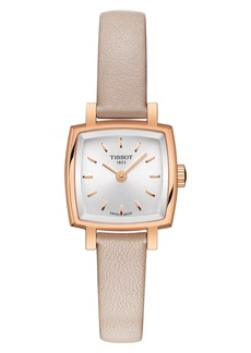 Women's Tissot Lovely Square Leather Strap Watch