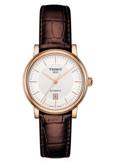 Women's Tissot Premium Carson Automatic Leather Strap Watch