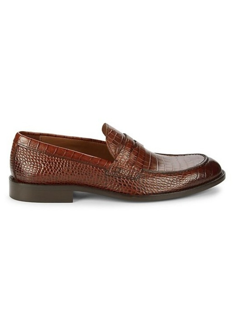 To Boot Cutler Croc-Embossed Leather Loafers