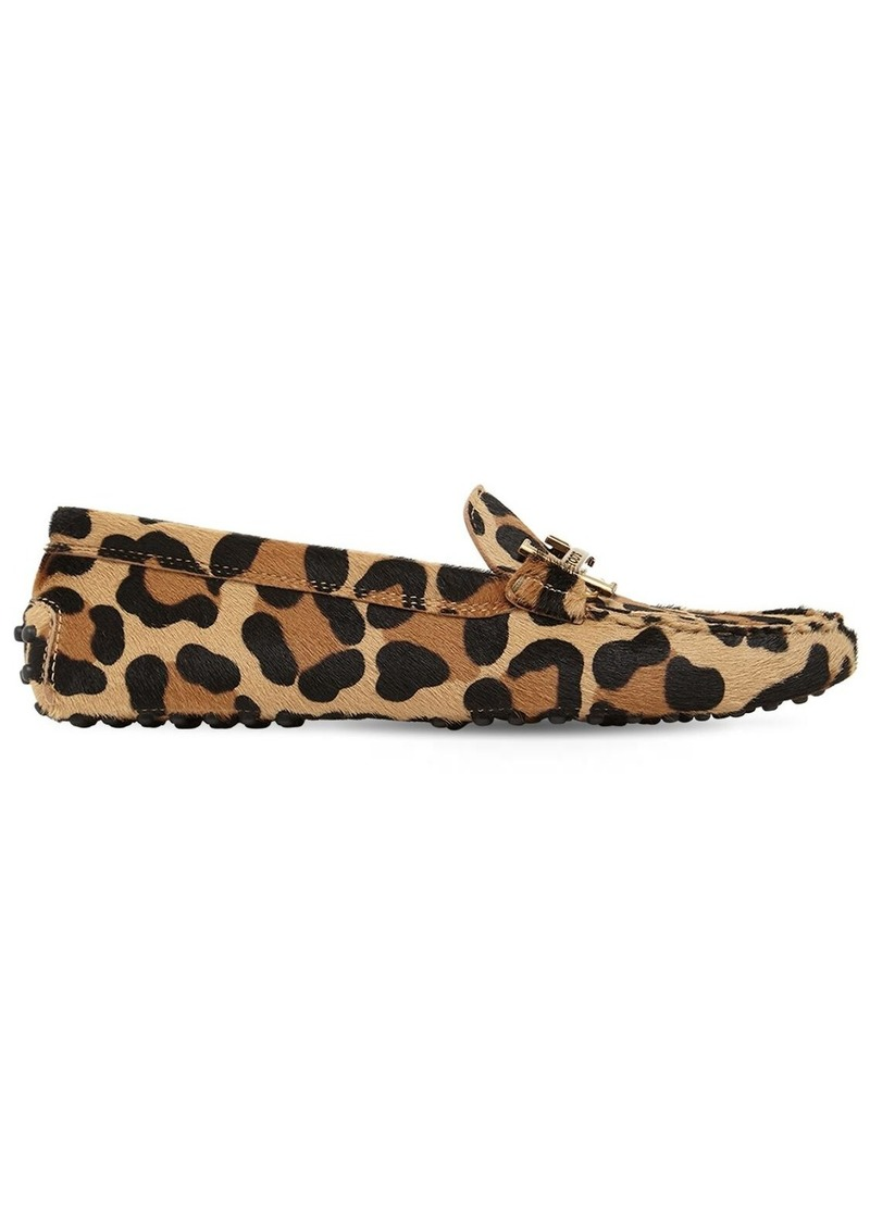 Tod's 10mm Leopard Print Pony Skin Loafers