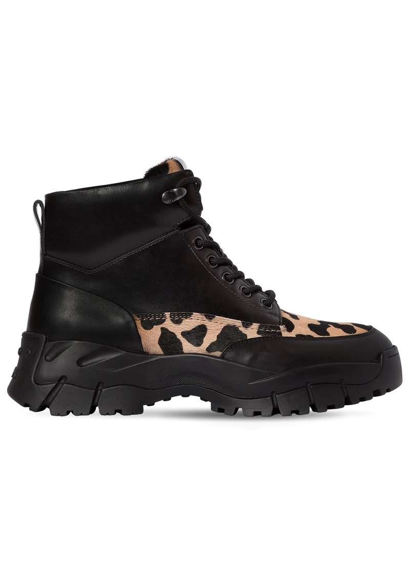 Tod's 50mm Leather & Pony Skin Trekking Boots