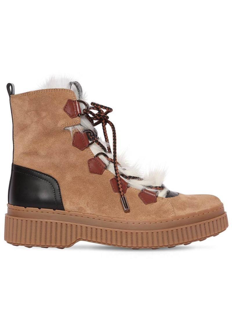 Tod's 50mm Suede & Fur Trekking Boots