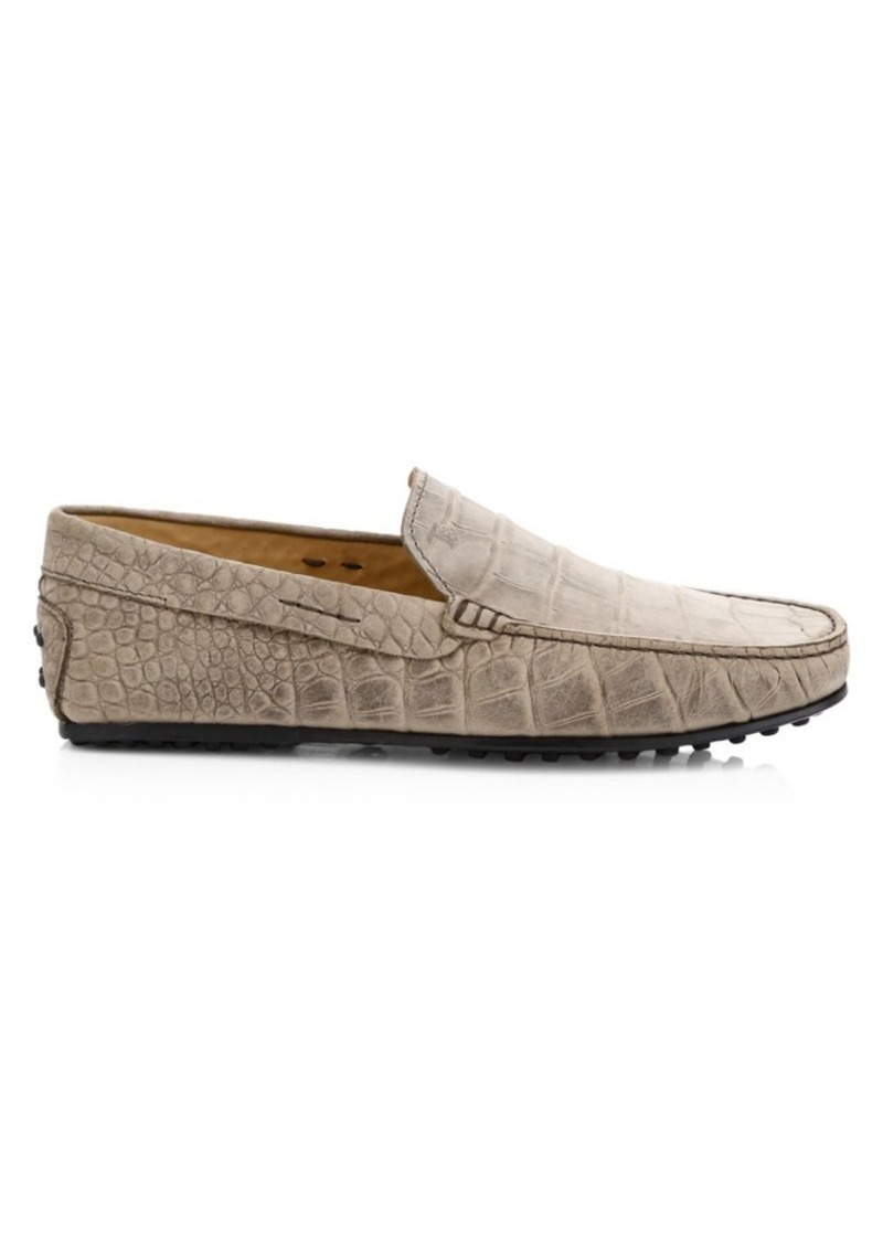 Tod's City Gommini Croc-Stamped Nubuck Driving Shoes