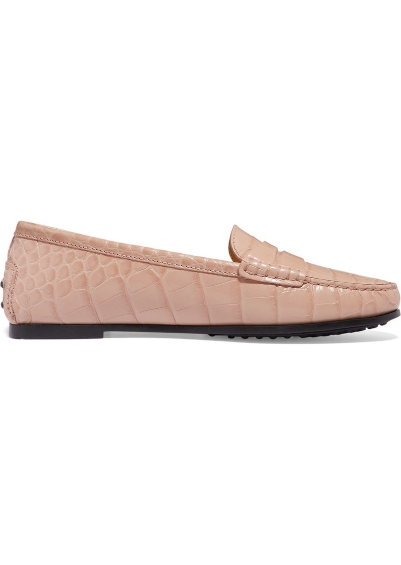 Tod's City Gommino Croc-effect Leather Loafers