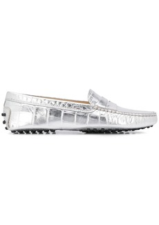 Tod's croc-effect metallic penny loafers