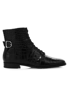 Tod's Croco-Embossed Leather Ankle Boots
