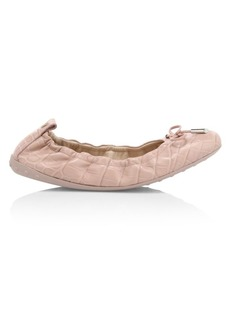Tod's Croc-Embossed Leather Ballet Flats