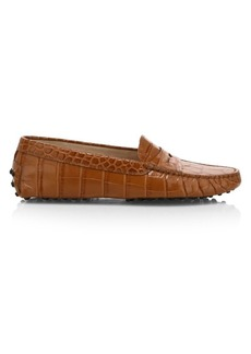 Tod's Croco-Embossed Leather Driver Loafers