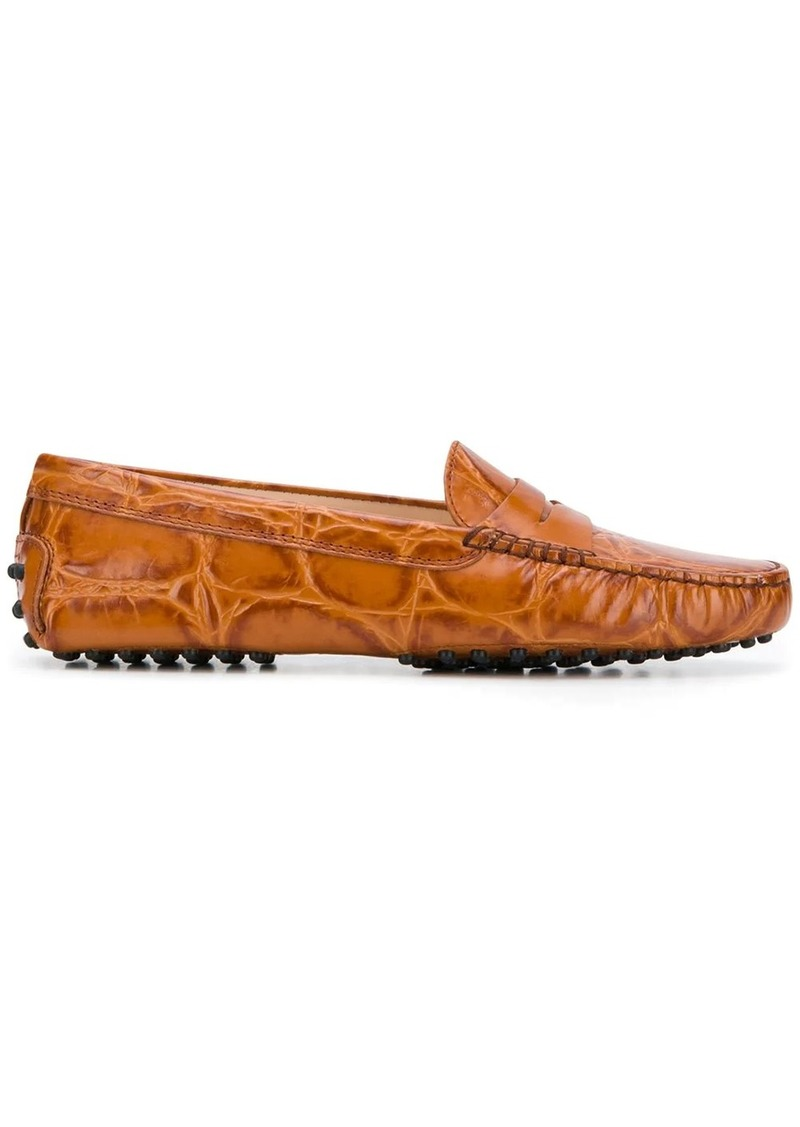 Tod's crocodile-effect loafers