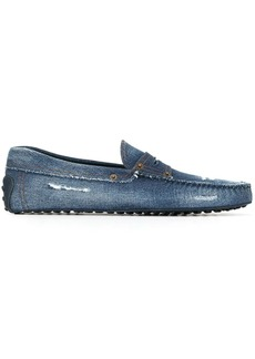 Tod's distressed denim Gommino driving shoes