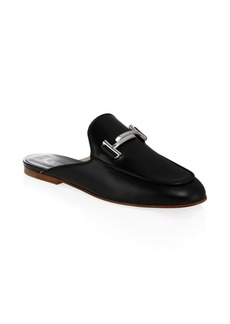 Tod's Double T Black Leather Mules