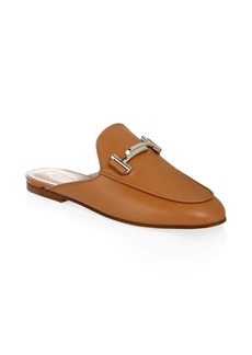 Tod's Double T Cognac Leather Mules