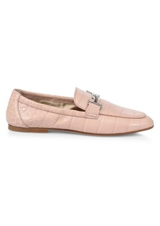 Tod's Double T Croc-Embossed Leather Loafers