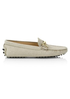 Tod's Gommino Double T Glitter Leather Driving Loafers