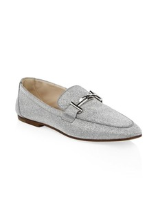 Tod's Double T Glittered Leather Loafers
