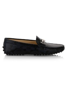 Tod's Double T Gommini Snakeskin-Embossed Leather Penny Loafers