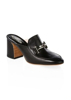 Double T Leather Clogs