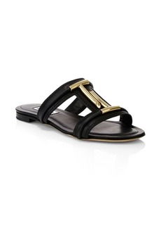 Tod's Double T Leather Mule Sandals