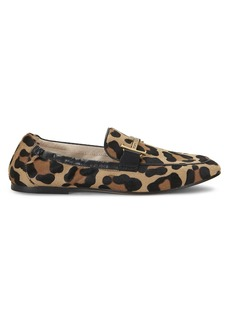 Tod's Double T Leopard-Print Calf Hair Loafers
