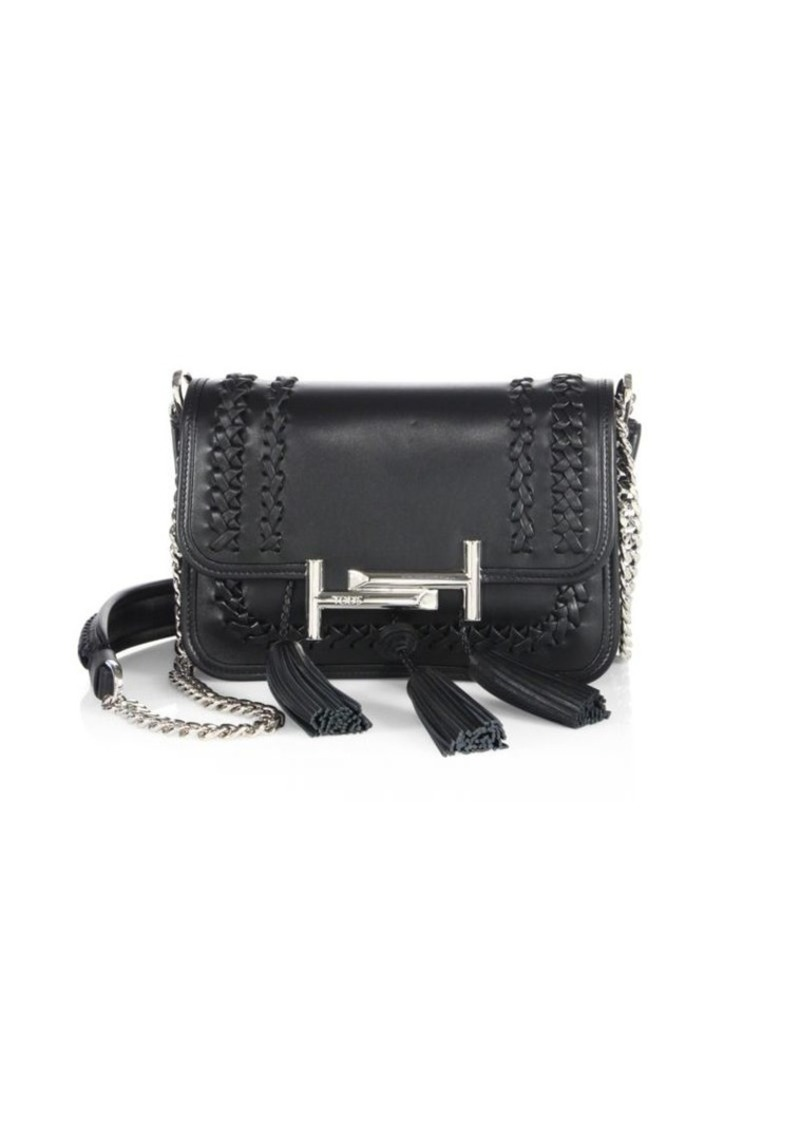 e6473e6e4784 Tod's Double T Mini Tassel Whipstitched Leather Chain Crossbody Bag ...